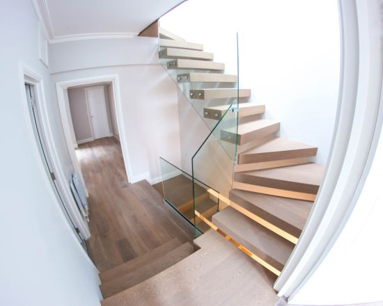 wooden and glass staircases